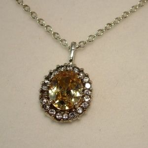 Classic style 925 Lab Topaz and CZ Necklace